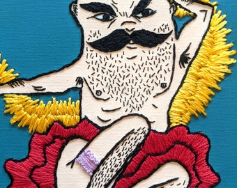 Fancy Embroidered Man Hand Embroidery Mixed Media On Canvas