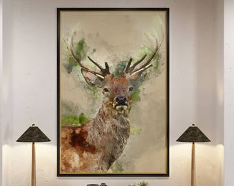 Deer Print, Stag Head, Stag print, Stag Picture, Deer Head, Stag Wall Art, Deer Wall Art, Animal Watercolours, Watercolor Paintings, Art