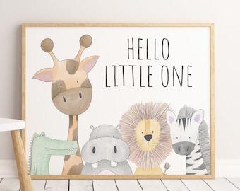 Hello Little One Set of 3 Girl Wall Art Prints Nursery Prints