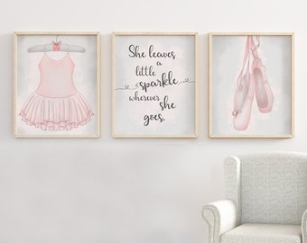 Ballerina Print, Ballet Print Set, Girls Room Decor, Pink And Grey Print  Set, Nursery Decor, Ballerina Art, Girls Decor, Girls Room, Ballet