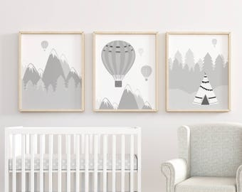 Monochrome Nursery Prints, Nursery decor, Nursery Wall Art, Monochrome Print Set, Adventure Nursery Print, Mountain Nursery Prints Art