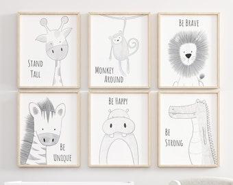 Safari Nursery Set, Animal Nursery Decor, Quote Nursery Print, Peekaboo Nursery, Safari Animal Print, Safari Nursery, Neutral Nursery Prints