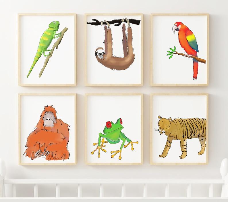 Rainforest Animals Nursery Decor Animal Nursery Prints Nursery Jungle Pictures