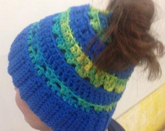Crochet Ponytail Hat Pattern