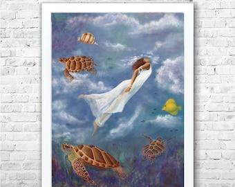 Painting - Art print - Original Art - Sea - Underwater - Painting on canvas - Print -