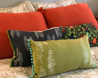 Green Fern Pillow Cover - with Pom Poms