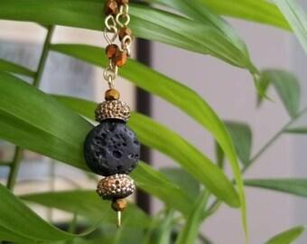 Lava Bead Diffuser Necklace - Amber