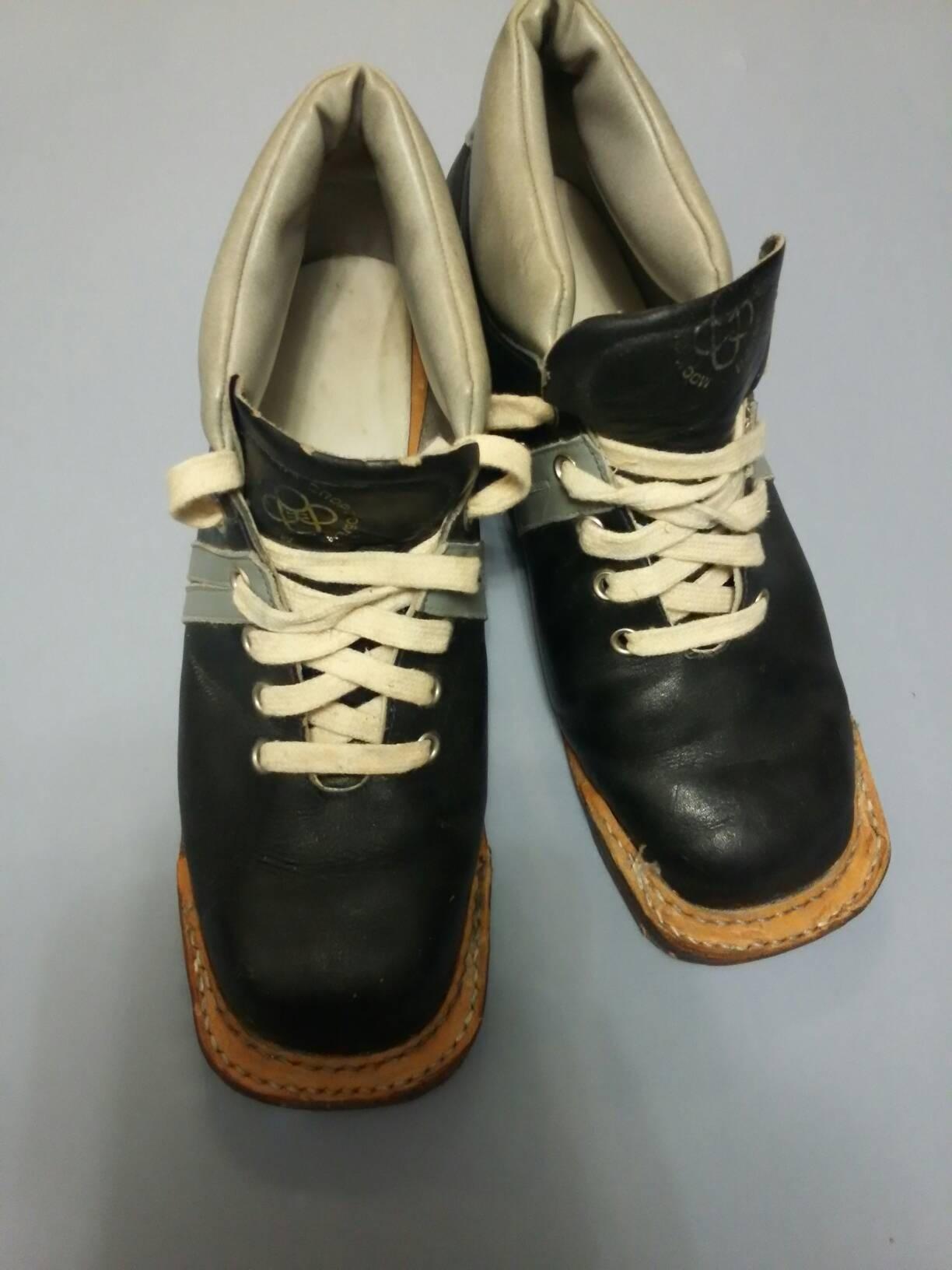 Soviet Vintage Ski Boots, Vintage Vintage Vintage Ski Shoes, Winter Sport Shoes, Leather Ski Boots, Made in USSR, 1970s 8784e6