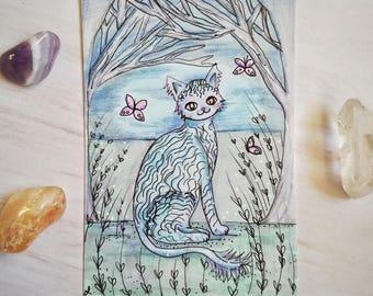 Original Fairytale Forrest Cat Artist Trading Card