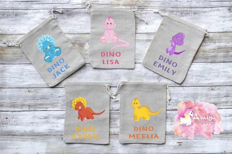 Girly Party Favors Pretty in Pink Pink Dino Party Decor Dino Party Dinosaur Birthday Party Girly Dino Party Burlap Goodie Bags