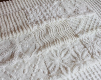 Vintage Chenille Bedspread Fabric Quilt Squares, 9 WHITE  6 X 6 inch squares, quilting, doll crafts, rag quilt ~ MSB ~