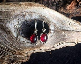 Vintage Red Garnet Earrings in Sterling Silver