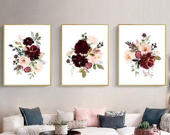 Blush and burgundy flowers art set printable, burgundy blush roses wall art set, Digital Download, watercolor burgundy blush peonies prints