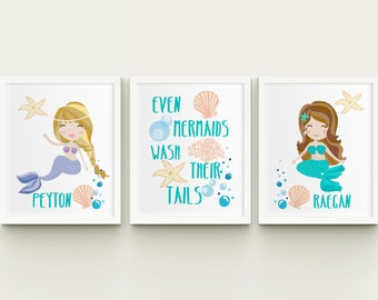Mermaids Personalized Girls Bathroom Printable Art Set, Sisters Custom  Bathroom Wall Art, Girls Bathroom Decor Download, Even Mermaids Set