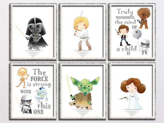photograph about Printable Star Wars named Star wars nursery printable artwork established, star wars small children place wall artwork, printable nursery Yoda prices, the tension is potent decor down load