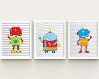Robots boy nursery printable wall art set of 3, toddler playroom robots wall decor, boys room robots set instant download, kids room art