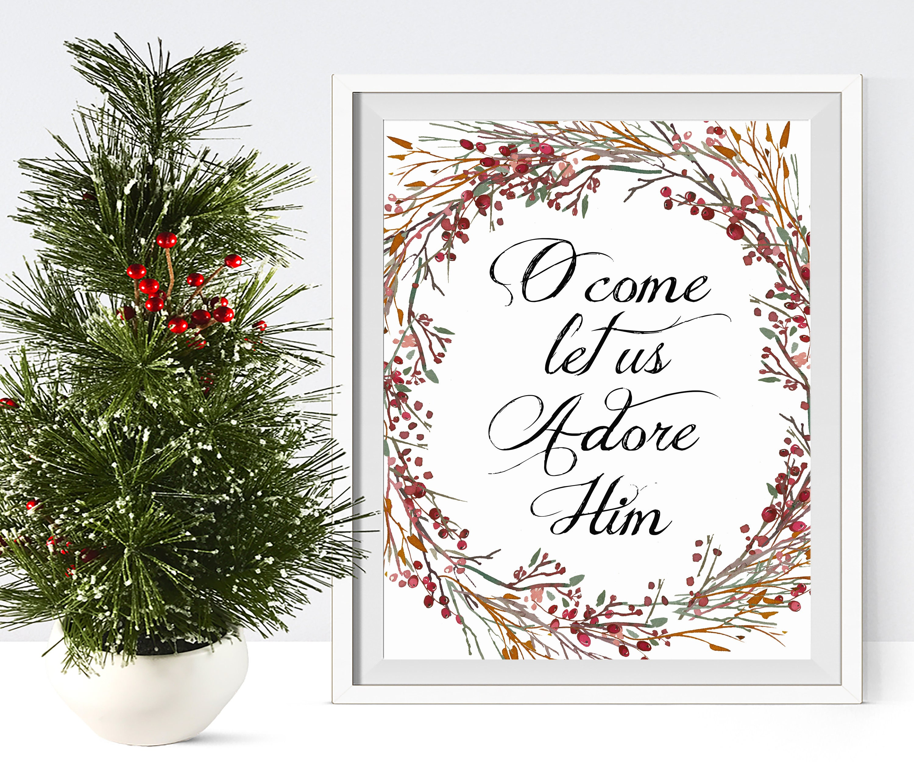O come let us adore Him Christmas art printable Christmas | Etsy