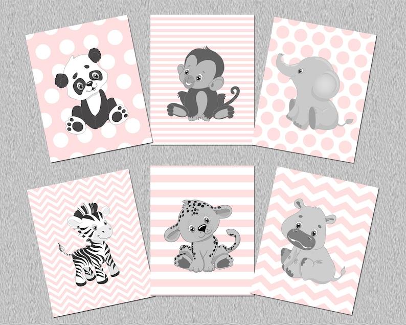 animals art monkey elephant zebra Download Nursery printable safari art set pink hippo kids room nursery jungle art gray