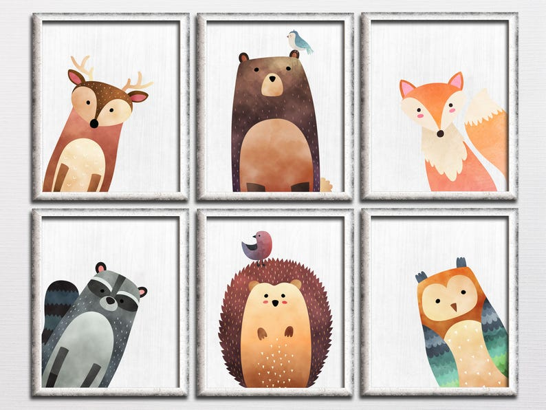 deer owl bear fox kids room art download woodland playroom baby room decor Nursery woodland printable set wall art forest animals
