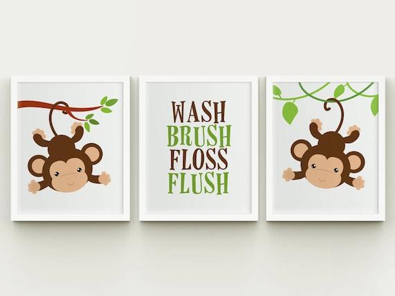 Monkeys Bathroom Wash Brush Floss Flush Printable Wall Art Kids Bathroom Little Monkeys Decor Nursery Monkeys Wall Art Instant Download