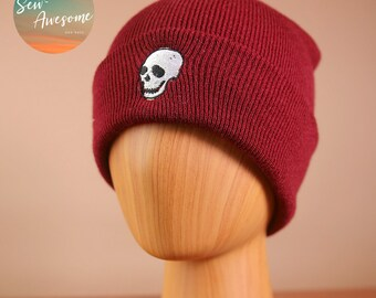 b4870223c17ee Skull Beanie, Halloween Embroidered Beanie, Scary Winter Hat, Best friend  Gift, Hat Embroidery, Gift for Him, Gift for Her