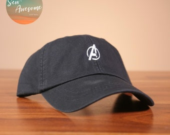 4e3957199a6c1 Avengers Dad Hat, White Marvel Baseball Cap, Custom Embroidery, Best Friend  Gift, Personalized, Embroidered Hat