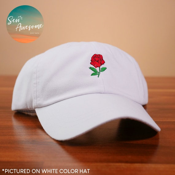 Cute Rose Dad Hat Floral Embroidered Baseball Cap Mexican  627aeb03bc73