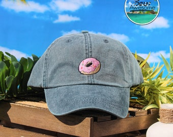 Pink Sprinkled Doughnut Embroidered Baseball Hat, Cute Doughnut Hat, Cute Gift, Choose Your Own Color Hat, Low Profile Hat, Dad Hat