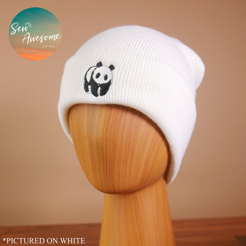 9ead9c2bb Panda Beanie, Cute Embroidered Beanie, Animal Winter Hat, Best friend Gift,  Hat Embroidery, Gift for Him, Gift for Her, Custom Hats