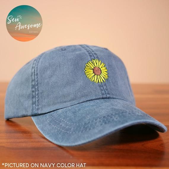 Sun Flower Embroidered Baseball Hat Boho Sun Flower Hat  64e9d10dedeb