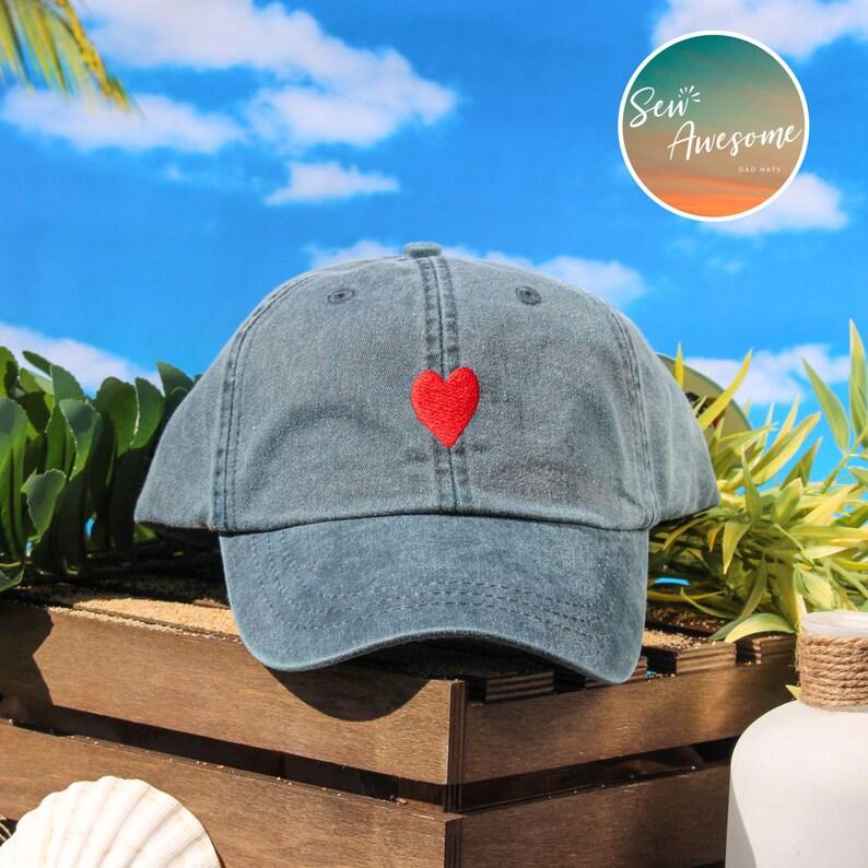 5e188184 Heart Dad Hat Red Heart Baseball Cap Custom Embroidery Best | Etsy