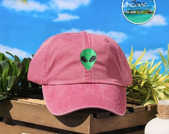 Trendy Alien Embroidered Baseball Hat, Alien Hat,Cute Gift, Choose Your Own Color Hat, Trendy Hats, Low Profile Hat, Dad Hat