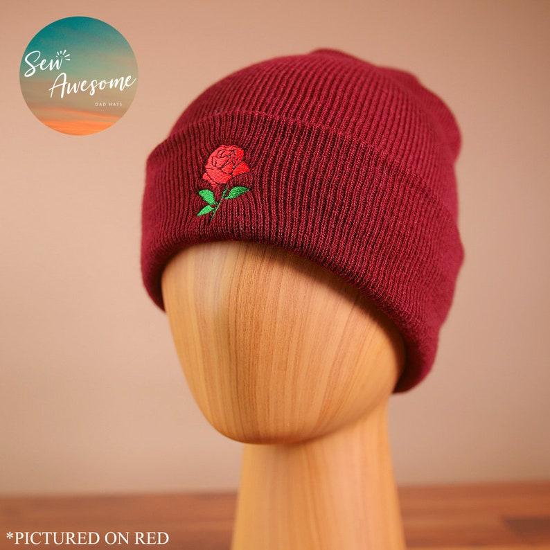 a109a1bd4c25c Rose Beanie Flower Embroidered Beanie Garden Winter Hat