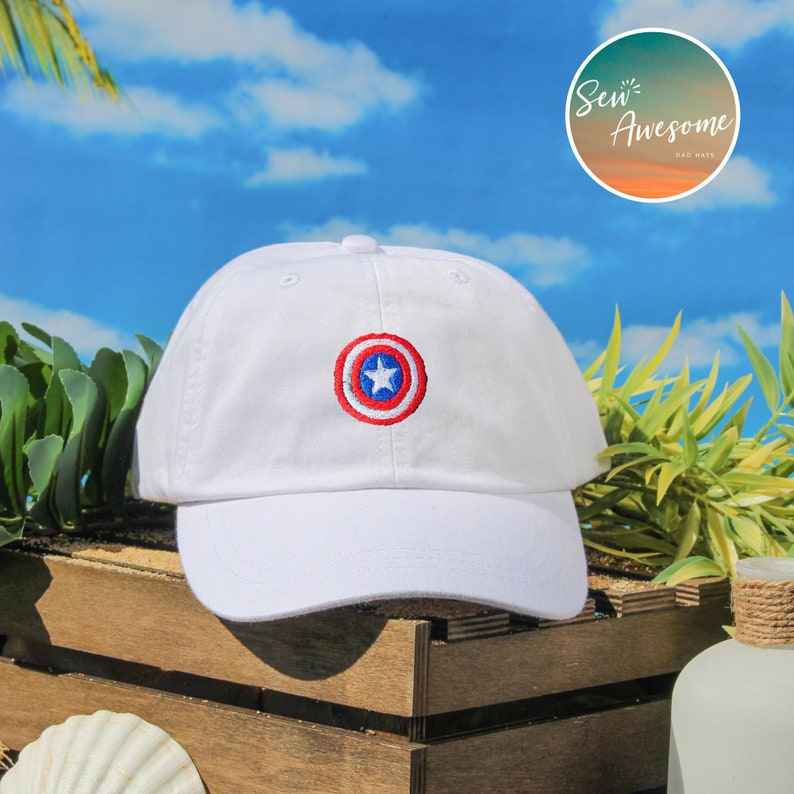 88cacfada38 Captain America Dad Hat Avengers Baseball Cap Geek Dad Cap