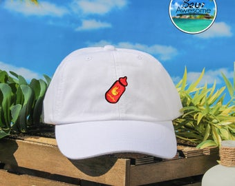 Hot Sauce Embroidered Baseball Hat, Cute Hot Sauce Hat, Food Lover Hat, Choose Your Own Color Hat, Food Lover Hat, Low Profile Hat, Dad Hat