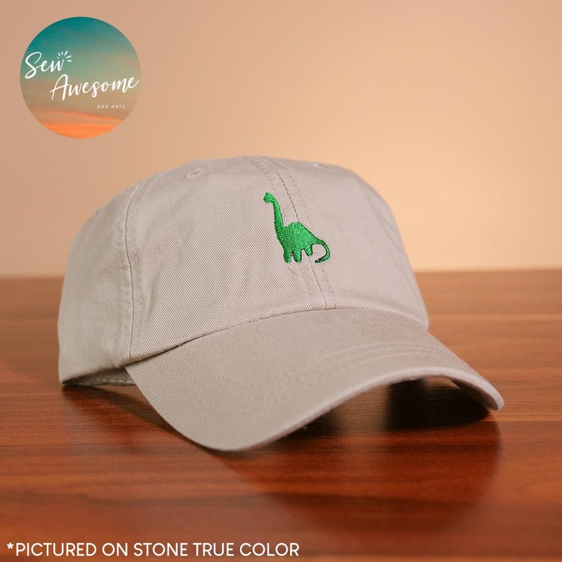 9a28834dcaf43 Brontosaurus Dad Hat Dinosaur Baseball Cap Cute Embroidered