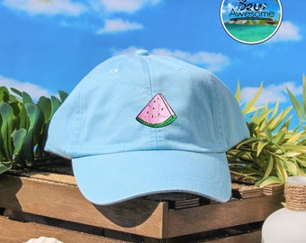 Watermelon Embroidered Baseball Hat, Cute Fruit Hat,Cute Gift, Choose Your Own Color Hat, Summer Hat, Low Profile Hat, Dad Hat