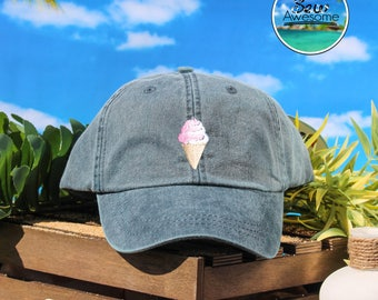Pink Ice Cream Cone Embroidered Baseball Hat, Cute Ice Cream Hat, Cute Gift, Choose Your Own Color Hat, Low Profile Hat, Dad Hat