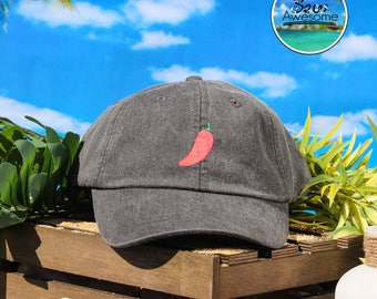Red Chili Pepper Embroidered Baseball Hat, Cute Red Pepper Hat, Food Hat, Cute Gift, Choose Your Own Color Hat, Low Profile Hat, Dad Hat