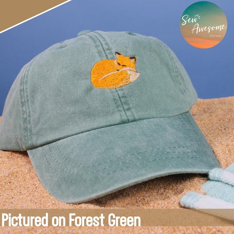 3e466f711f3fe Sleeping Fox Embroidered Baseball Hat Animal Dad Hat Cute
