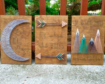 She Will Move Mountains - Nursery Set String Art