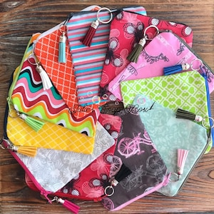 coin pouch notions pouch zipper pouch triangle zipper pouch triangle zipper bag quilted pouch Leaves chapstick holder,