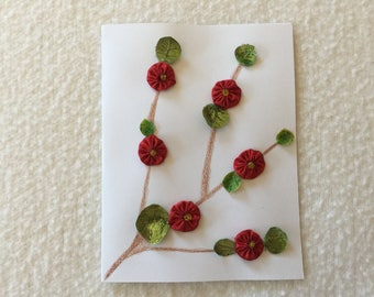 Greeting Card with a Red Flower Vine Design