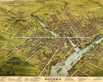 Vintage Bangor, Maine  Birds Eye View Map, circa 1870s,  High Quality 13 x 19 Print