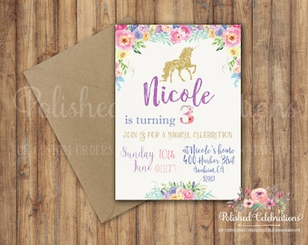 Unicorn Birthday Invitation / Unicorn Party / Mythical Princess / Magical / Floral / Gold / Digital Invite / Watercolor / Roses / Printable