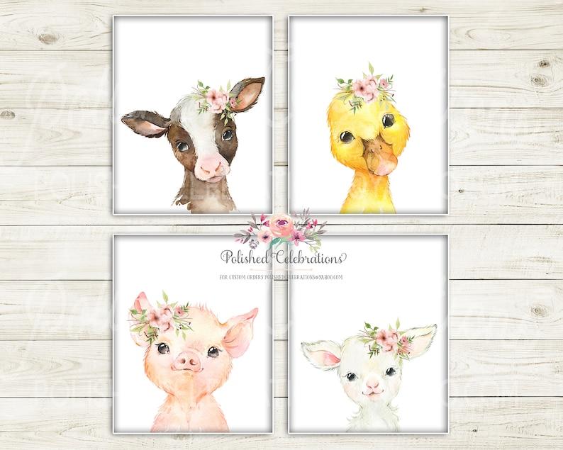 Boho Blush Farm Animals  Printable Nursery Art  Baby Girl Nursery  Blush Pink Flowers  Farm Wall D\u00e9cor  Bedroom Wall Art  DIY Prints
