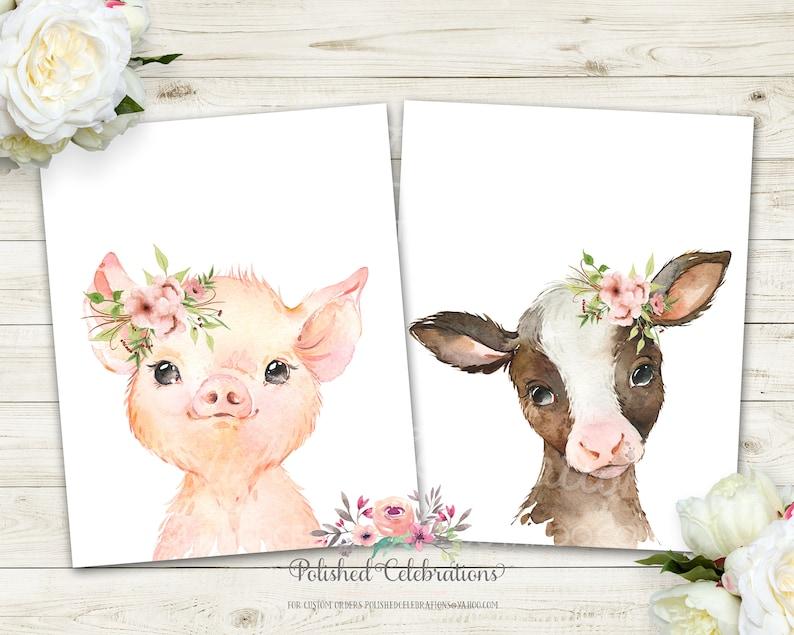 Blush Farm Animal Cow Set  Printable Nursery Art  Baby Girl Nursery  Pink Flowers  Boho Wall D\u00e9cor  Bedroom Wall Art  Cow Pig Duck