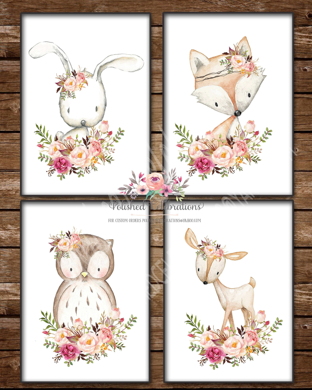 Boho Fox Nursery Wall Art Woodland Animals Print Floral Decor Baby Gift 602-A