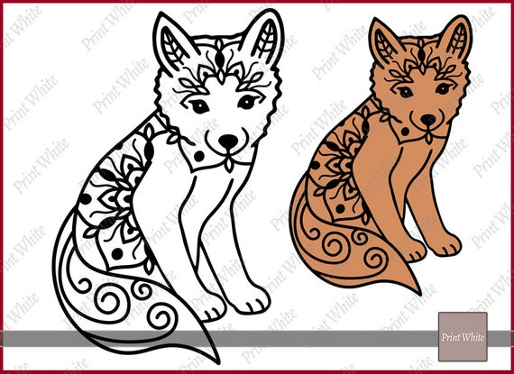 Fox Svg Fox Imprimer Zentangle Fox Fox Mandala Renard Renard Clipart Fichier Coupe Fox Clip Art Cricut Couper Fichier Animal Mandala Renard Vecteur