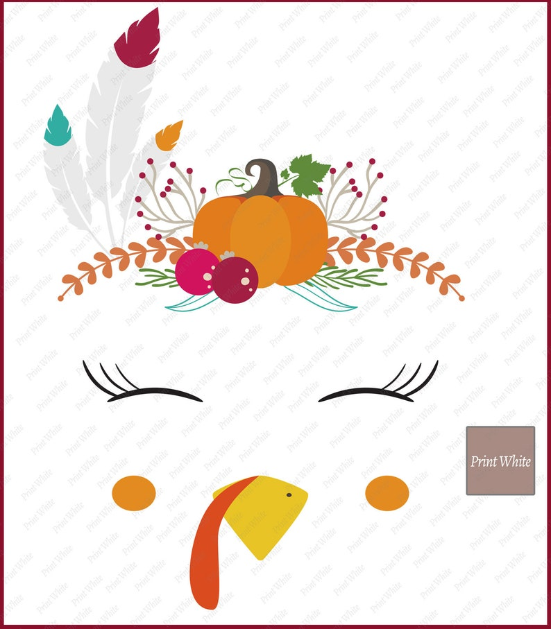 Turkey Face Clipart Digital File Turkey Face Design for Image Transfer Thanksgiving Clip Art Tribal Turkey Face Clipart for Iron On